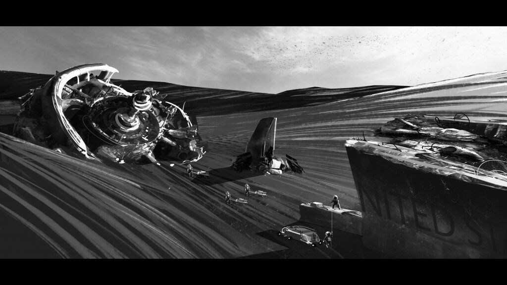 A wreckage on Mars surface